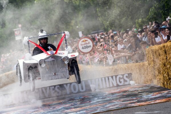 Wedding Belles team performs during Red Bull Soapbox 2017 in London, UK, on July 9, 2017